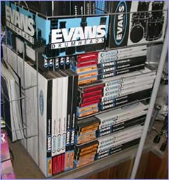 We've got a lot more than what you see in this display. EVANS pre-packs and bass drum muffling systems are on hand as well.